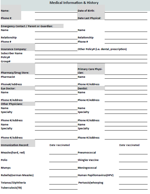 family medical form